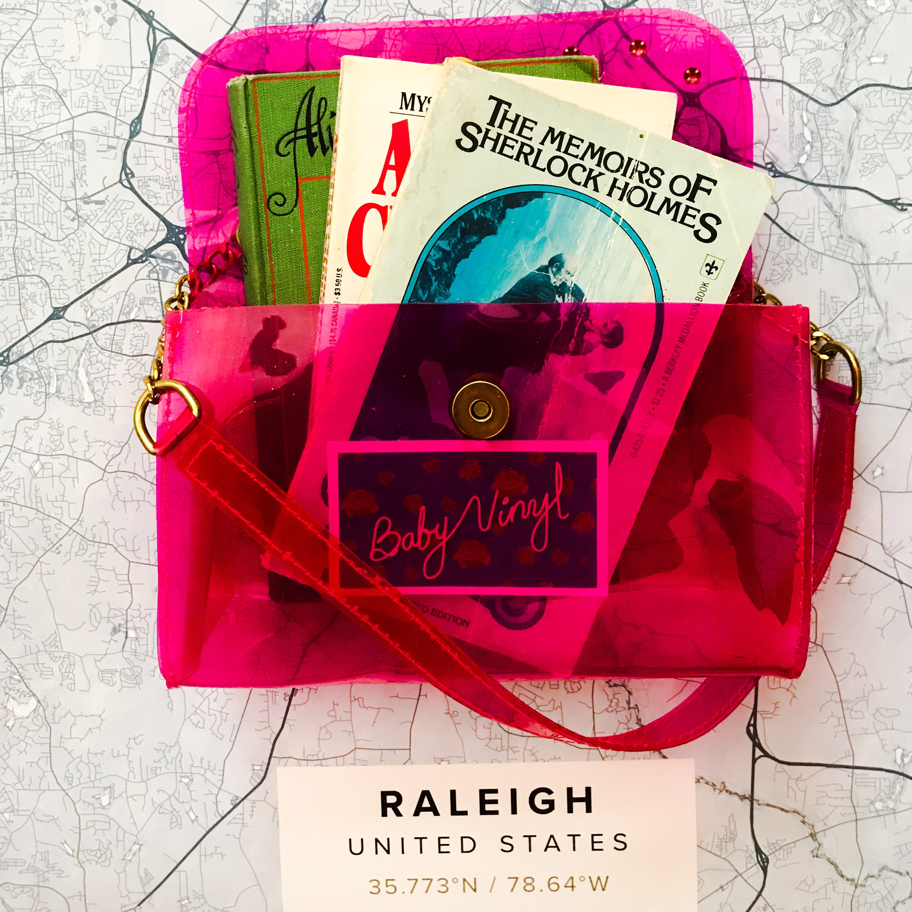 Hot pink vinyl fashion purse